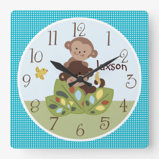 Personalized Curly Tails Monkeys Clock with Dots