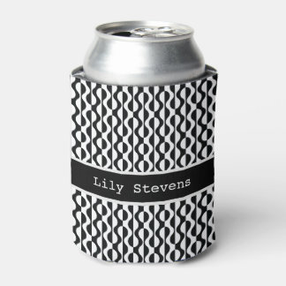 Personalized, Curvy Black & White Pattern Can Cooler