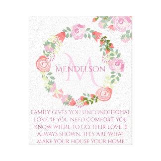 Personalized Custom floral wreath monogram Canvas Print
