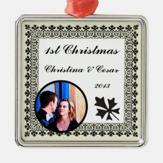Personalized Custom Light Green/Gray Formal Weddin Christmas Ornaments