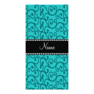 Personalized custom name turquoise swirls photo cards