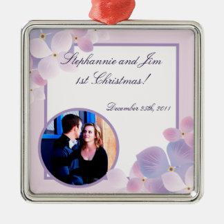 Personalized Custom Ornament Purple Hydrangea