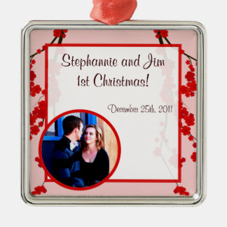 Personalized Custom Ornament Red Cherry Blossom