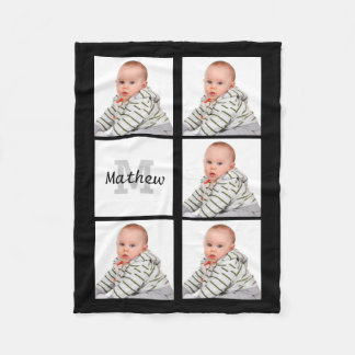 Personalized Custom Photo Collage Monogram Fleece Blanket