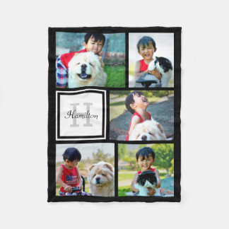 Personalized Custom Photo Collage Monogrammed Gift Fleece Blanket