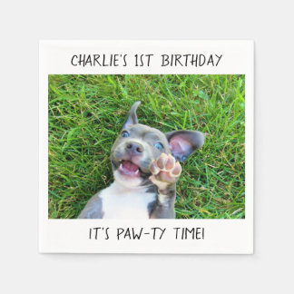 Personalized Custom Photo Puppy Dog Birthday Party Disposable Napkin
