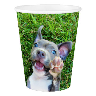 Personalized Custom Photo Puppy Dog Birthday Party Paper Cup