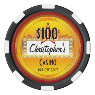 Personalized Custom Poker Chips, Gold/Red Casino Poker Chips