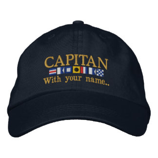 Personalized Custom Spanish Capitan Nautical Flags Embroidered Cap