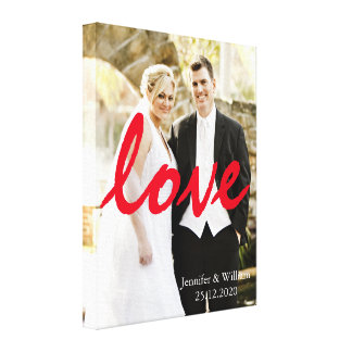 Personalized Customized Wedding Photo LOVE Writing Canvas Print