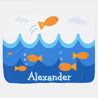 Personalized Cute and Fun Flying Fish Illustration Baby Blanket