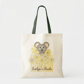 Personalized Cute Animal Yellow Kids Name Library Tote Bag