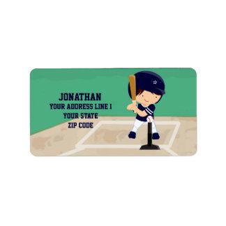 Personalized Cute Baseball cartoon player Address Label