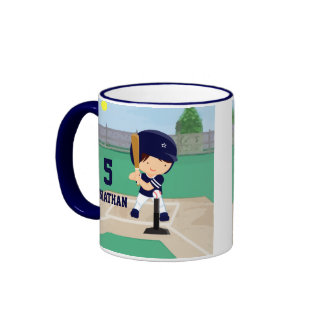 Personalized Cute Baseball cartoon player Mugs