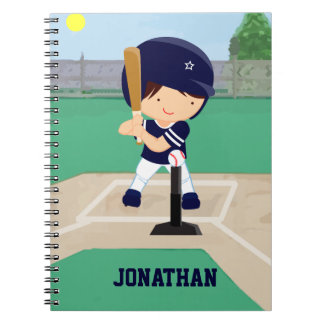Personalized Cute Baseball cartoon player Note Book