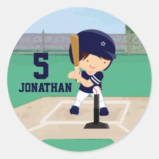 Personalized Cute Baseball cartoon player Round Sticker