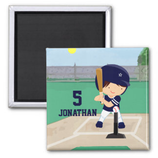 Personalized Cute Baseball cartoon player Square Magnet