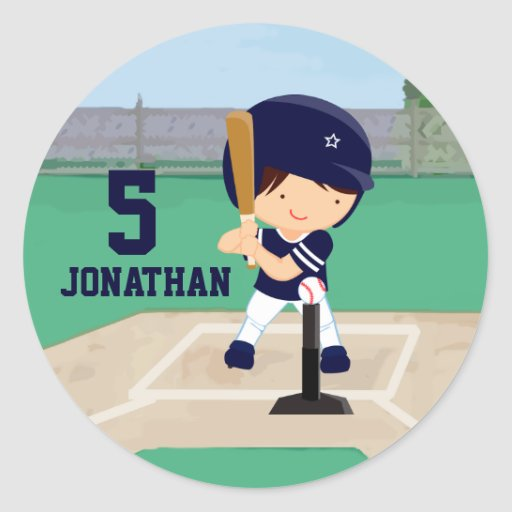 Personalized Cute Baseball cartoon player Stickers