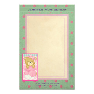 Personalized Cute Bear in Pink Personalized Stationery