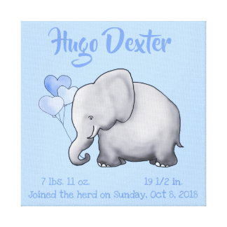 Personalized Cute Birth Stats Elephant Nursery Canvas Print