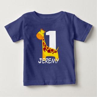 Personalized Cute Birthday Giraffe Baby T-Shirt