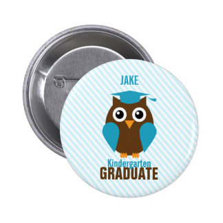 Personalized Cute Blue Owl Kindergarten Graduate 6 Cm Round Badge