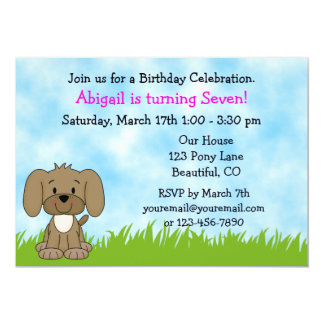 Personalized Cute Brown Puppy Dog Girls Birthday Card