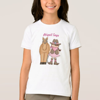 Personalized Cute Brunette Cowgirl and Horse T-Shirt