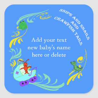 Personalized Cute Cajun Baby Boy Square Sticker