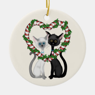 Personalized Cute Cat Couple and Candy Cane Wreath Ceramic Ornament
