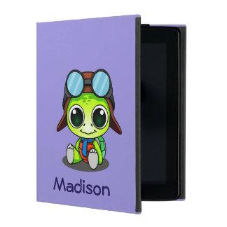 Personalized Cute Chibi Turtle in Aviator Hat iPad Cover