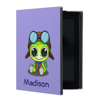 Personalized Cute Chibi Turtle in Aviator Hat iPad Cover