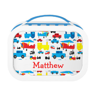 Personalized Cute Colorful Planes, Trains and Cars Lunch Box