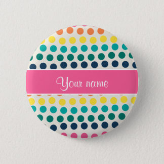 Personalized Cute Colorful Polka Dots 6 Cm Round Badge