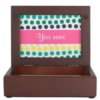 Personalized Cute Colorful Polka Dots Memory Box