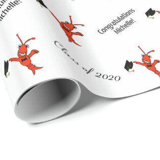 Personalized Cute Crawfish Graduation Wrapping Paper