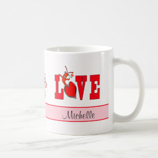 Personalized Cute Crawfish Lobster Love Coffee Mug