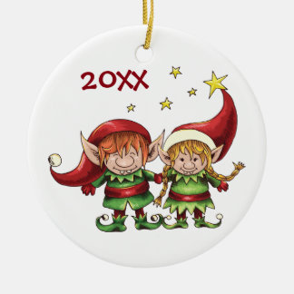 Personalized Cute Elf Couple Holiday Round Ceramic Decoration