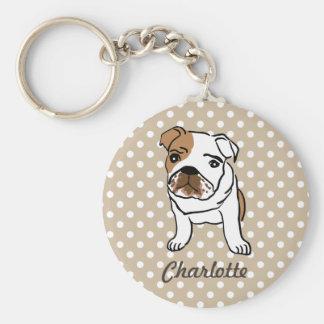 Personalized Cute English Bulldog Key Ring