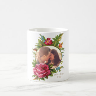 Personalized cute floral photo border coffee mug