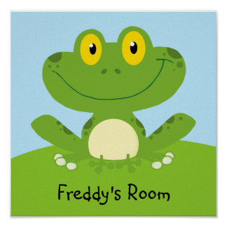 Personalized Cute Green Frog Poster