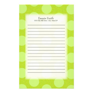 Personalized Cute Green Polka Dots Stationery