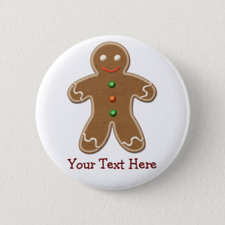 Personalized Cute Holiday Gingerbread Man 6 Cm Round Badge