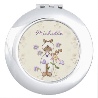 Personalized Cute Kitty Cat and Flowers Travel Mirror