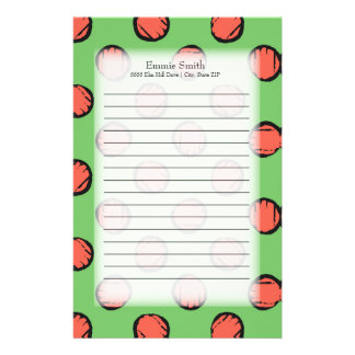 Personalized Cute Neon Green with Pink Polka Dots Stationery