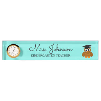 Personalized cute owl kindergarten school teacher name plate