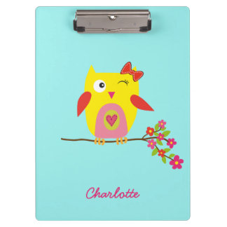 Personalized Cute Owl Yellow Pink Illustration Clipboards
