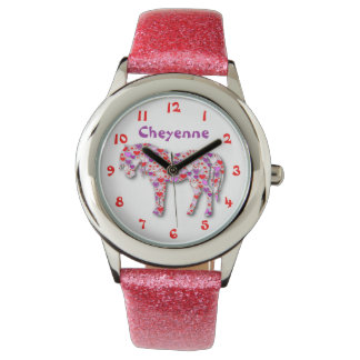 Personalized Cute Pink and Purple Heart Horse Pony Watch