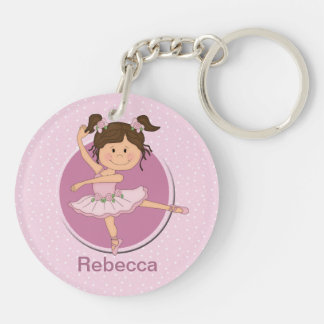 Personalized Cute Pink Ballerina Double-Sided Round Acrylic Key Ring
