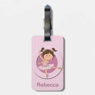 Personalized Cute Pink Ballerina Luggage Tag
